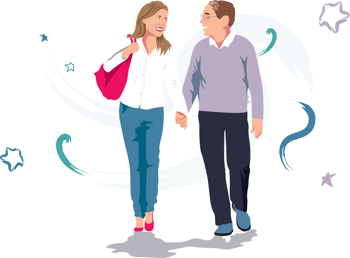 couple holding hands walking